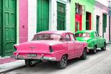 Cuba Fuerte Collection - Two Classic American Cars - Pink & Green Photographic Print by Philippe Hugonnard