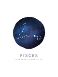 Pisces Zodiac Constellation Posters by Rebecca Lane