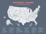 Karta över USA:s nationalparker Posters av Meagan Jurvis