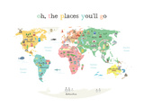 Oh The Places You'll Go Map In White Posters van Magda Van Raak