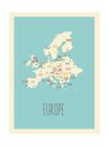 Blue Europe Map Prints by Rebecca Lane