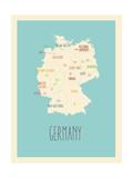 Allemagne, Carte graphique bleue Posters par Rebecca Lane