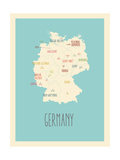 Blue Germany Map Poster van Rebecca Lane