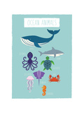 Animali dell'oceano (dicitura in inglese) Poster di Rebecca Lane
