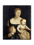 Portrait of the Artist'S Wife with the Two Elder Children, 1528-29 Impressão giclée por Hans Holbein the Younger