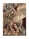 'He Played Until the Room Was Entirely Filled with Gnomes', Pub. 1917 Impressão giclée por Arthur Rackham