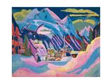 Davos in Winter, 1923 Impressão giclée por Ernst Ludwig Kirchner