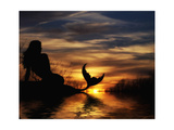 Mermaid Sunset Posters por Julie Fain