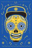 Hoops Skull Blue Print by John Hersey
