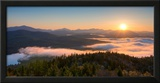 Sunrise over the Adirondack High Peaks from Goodnow Mountain, Adirondack Park, New York State, USA Framed Photographic Print by  Panoramic Images