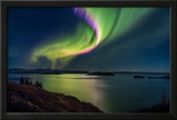 Northern Lights over Thingvallavatn or Lake Thingvellir. Thingvellir National Park. Iceland Framed Photographic Print by Green Light Collection