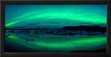 Aurora Borealis or Northern Lights over the Jokulsarlon Lagoon, Iceland Framed Photographic Print by  Panoramic Images