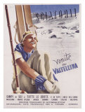 Valtellina, Sciatori Giclee Print by  Romola