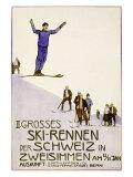 Rennen Der Schweiz, Ski Giclee Print by Emil Cardinaux