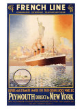 French Line, Plymouth to New York Giclee Print by  Rodmell