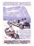 Winterfahrt Garmisch, Partenkirchen Car Race Reproduction procédé giclée par Alfred Hierl