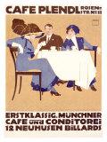 Café Plendl Giclee Print by Ludwig Hohlwein