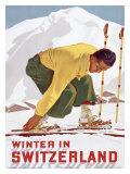 Invierno en Suiza Lámina giclée por Erich Hermes