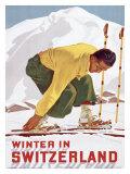 Winter in Switzerland Gicleetryck av Erich Hermes