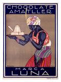 Chocolate Amatller, Marca Luna Wydruk giclee autor Rafael de Penagos