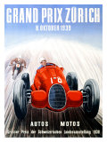 Grand Prix de Zurich, 1939 Reproduction procédé giclée par Adolf Schnider