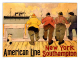 American Line, New York to Southampton Giclée-tryk af Henri Cassiers