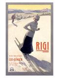 Rigi Ski,1907 Reproduction procédé giclée