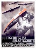 Luftschutz ist Selbstschutz Giclee Print by Otto Baumberger