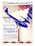 Pilotes d&#39;Avions Giclee Print by Chassaing 