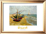 Fishing Boats on the Beach at St.Maries Print by Vincent van Gogh