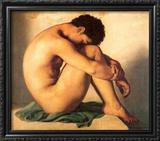Jeune Homme Nu Assis au Bord de la Mer Art by Hippolyte Flandrin