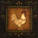 Square Rooster Right Poster by Kim Lewis