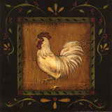Square Rooster Left Prints by Kim Lewis