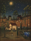 Village Full Moon Art by Kim Lewis