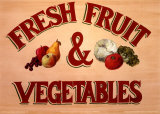 Fruits & Vegetables Sign Posters by Madison Michaels
