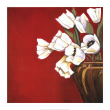 Tulips on Red Poster af Ann Parr