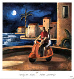 Couple sur une Vespa Affiches par Didier Lourenco