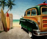 Coche clásico en la playa Cartel de chapa