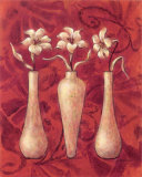 Happy Flowers Red III Prints by Judy Kaufman