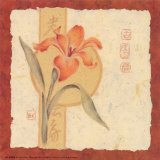 Red Asian Flowers IV Print by Judy Kaufman