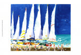 Sailboats on the Beach Poster by J. Presley
