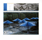 The Blue Umbrellas, 1991 Print by  Christo