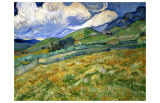 Wheatfield and Mountains, c.1889 Giclee Print by Vincent van Gogh