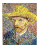 Self-Portrait with a Straw Hat, c.1888 Giclée-tryk af Vincent van Gogh
