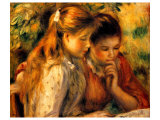 Two Girls Reading Giclee Print by Pierre-Auguste Renoir