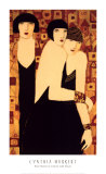 Three Women in Crimson Gold Mosaic Posters by  Markert