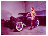 Pin-Up Girl: Flat Head Rat Rod Giclee Print by David Perry