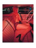 Pin-Up Girl: Pink Tattoo Giclée-Druck von David Perry