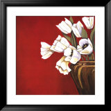 Tulips on Red Poster by Ann Parr