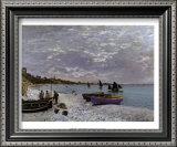 La plage a Sainte-Adresse Prints by Claude Monet
